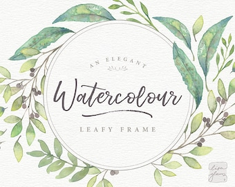 Watercolor floral frame: hand painted leaf wreath clipart / Wedding invitation clip art green watercolor leaves / commercial use / Th-a