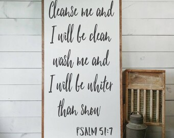 Psalm 51:7 Sign, Scripture Sign, Bible Verse Sign, Cleanse Me Sign, Whiter Than Snow, Scripture Gift, Chrstian Gift, House Warming PS10