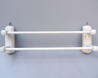 Français Vintage Vintage blanc en bois serviette serviette Rack/Français / serviette Vintage en bois porte serviette blanc porte serviette en bois Rack/sèche-serviettes