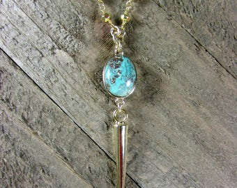 Gold Spike Necklace, Turquoise Pendant, Long Necklace, Gold Pyrite Necklace