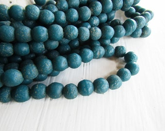 Round lampwork glass beads, rustic blue teal , opaque matte gritty textured aged look indonesian 8 to 9mm (12 bead)7ab12-5