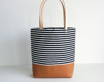 Striped Canvas Leather Tote