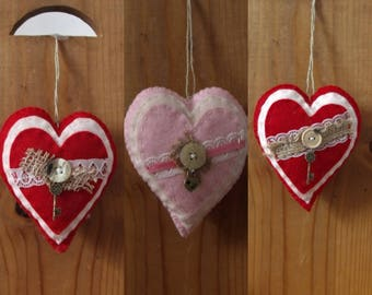 Stuffed Felt Heart Ornaments/Hanging Decor/Valentines