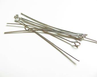 Lot 50 stalks eye silvery metal 50mm