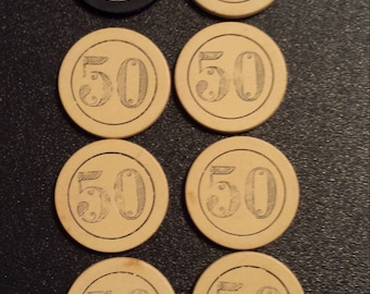Vintage carved, clay, composition poker chips