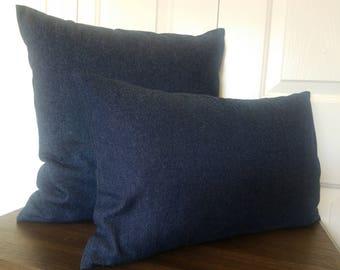 Pillow-Denim-Accent pillows-Blue denim pillow-Denim pillows-Couch pillow-Boho pillow-Denim pillow-Blue pillow-Navy blue pillow-Pillow cover