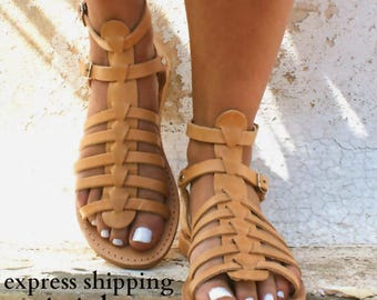 ERATO  sandals/ Greek leather sandals/ Gladiator sandals/ ancient grecian sandals/ handmade  sandals/ roman sandals/ natural beige sandals