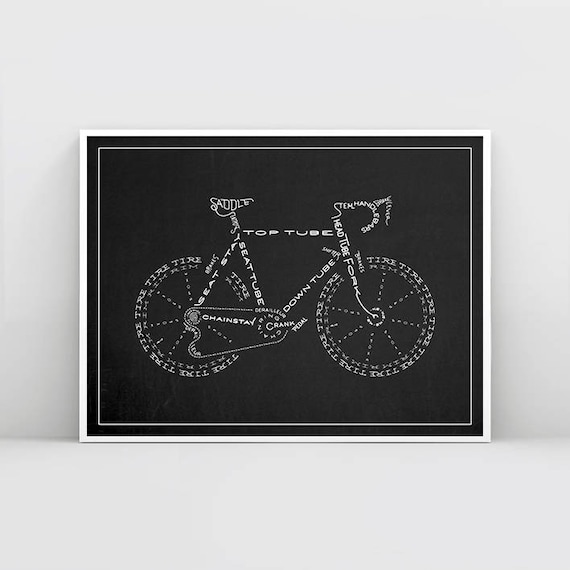 Black and white cycling poster typography bicycle poster