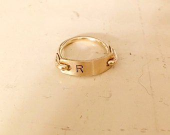 Gold ring, Personalized Initial, Custom ring, Letter Monogram,stamped Engraved bar, Ring Jewelry