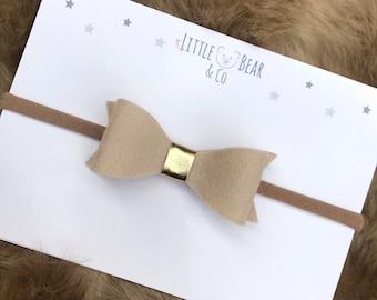 Baby Headband | Toddler | Beige Felt Bow Headband with gold accent centre  | Limited Edition | Autumn Fall Headband