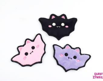 KAWAII BAT PATCH - flauschige fluffy Fledermaus Aufnäher Bat Bats Patches auf Minky & Filz gestickt - schwarz lila rosa
