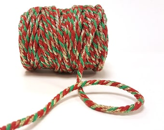 Red, Green & Gold 5mm Chunky Cotton Bakers Twine *Sold Per Metre*