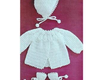 Vintage Crochet Pattern PDF  Baby Matinee Set  Jacket Bonnet Bootees  Coat Hat 4ply 20 inch chest Pram Set