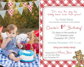 Teddy Bear Picnic birthday invitation (you print)