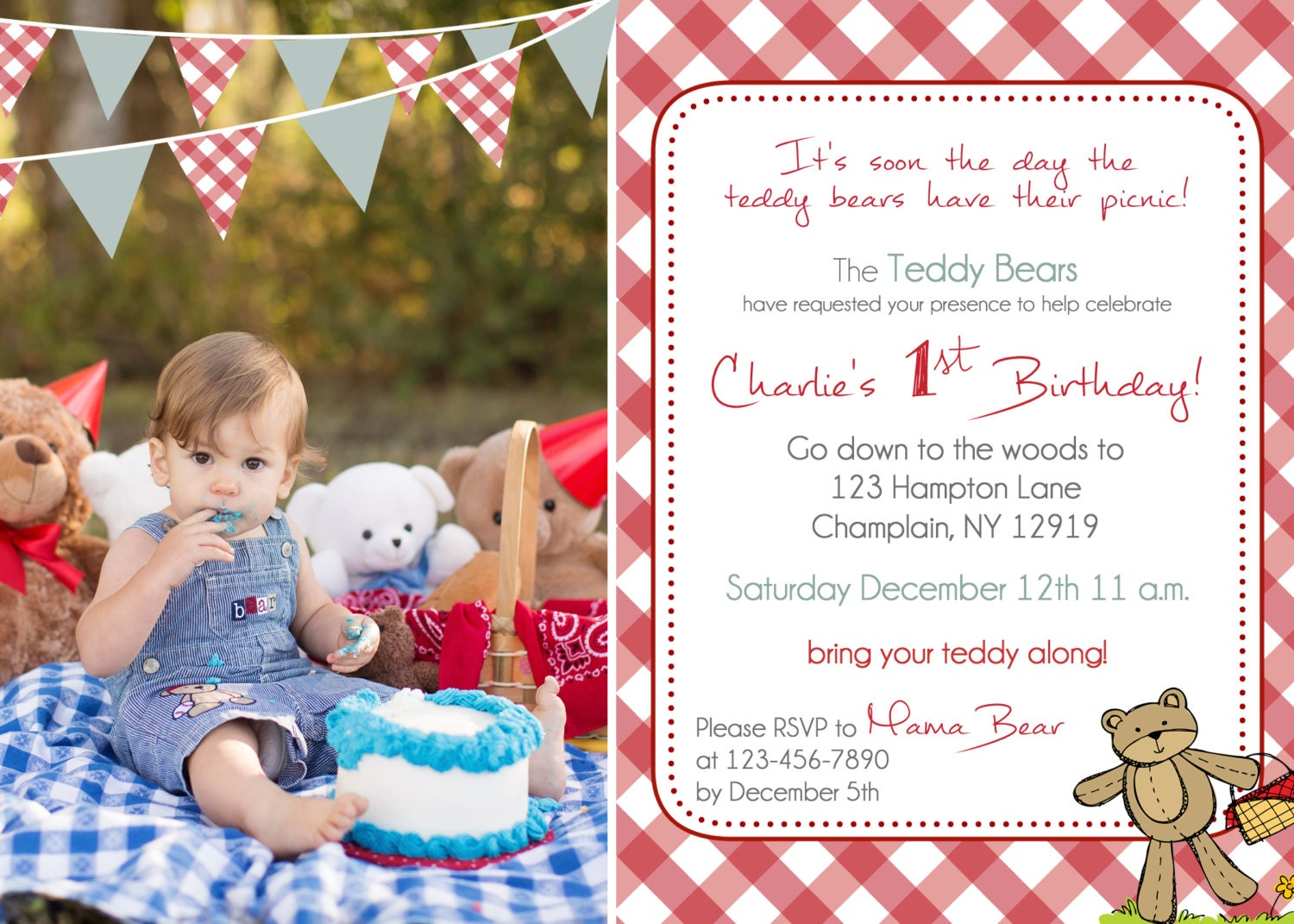 Teddy Bear Picnic birthday invitation you print