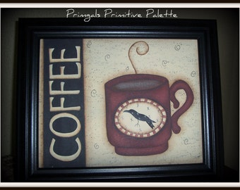 Primitive Framed Canvas Panel Coffee Crow Home Decor Picture