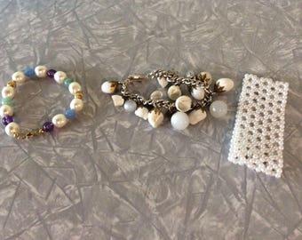 Lot of 3 Bracelets /Beaded/Shells/Boho/Hippy/Costume Jewelry