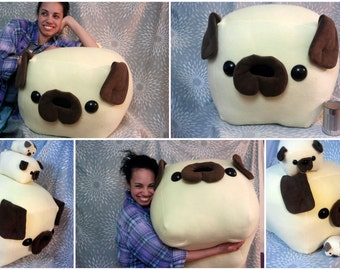 GIANT PUG loaf pillow - Made to Order