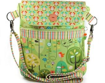 iPad Shoulder Bag Sleeve Crossbody Strap Green Orange Retro Birds Forest