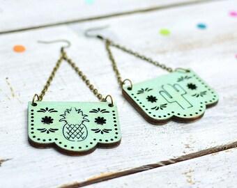 Mint Green Papel Picado Earrings, Mexican Bunting Jewellery, Dia De Los Muertos, Dangle Earrings, Nickel Free