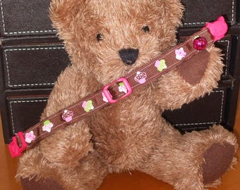Home Made Cat Collar w Quick Release Break-Away Clasp and Bell - Cupcakes on Brown