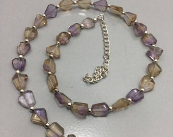 75 Cts Ametrine Faceted Tumble 9 to 11 mm Necklace/Gemstone Beads/Semi Precious Beads/Ametrine Necklace/Beaded Necklace