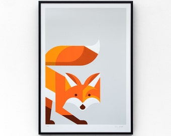 Fox A3 limited edition screen print, hand-printed in 4 colours