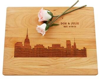 Skyline Cutting Board, Engraved Cutting Board, Custom Wedding Gift, Personalized Gift, Anniversary Gift, Bridal Shower Gift