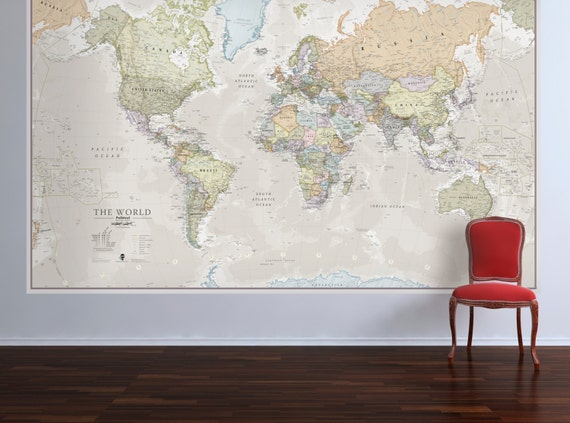 Huge classic world map vintage elegant home decor home like this item gumiabroncs Image collections