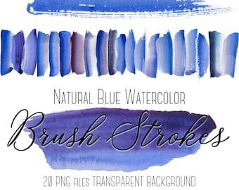 Blue watercolor brush strokes clipart, Blue brush strokes clip art, Watercolor Paint, Paint splatters, Design elements, Logo, Blog