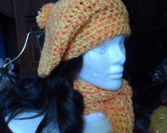Orange and Yellow Tam Hat and Scarf Set