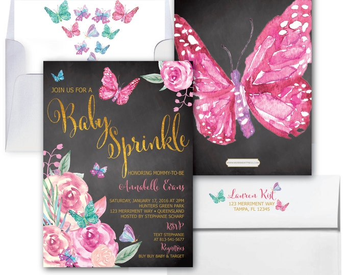 Butterfly Baby Sprinkle Invitation, Butterflies Invitation, Chalkboard, It's a Girl, Pink and Purple, Gold, Floral - VICTORIA COLLECTION