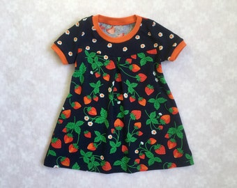 Baby girl dress, strawberry baby dress, organic baby dress, girls dress