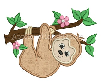 Zoo Baby Sloth Hanging Branch Girl Applique Machine Embroidery Design Jungle Safari Cute animal INSTANT DOWNLOAD