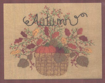 Autumn - Basket with Pumpkin and Leaves - Felt and Embroidery Wallhanging Pattern - UNCUT - CR018