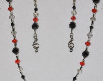 SALE! Necklace Bracelet Earrings Set Music Treble Clef #417