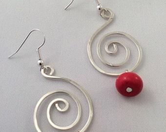 Silver large swirl earrings