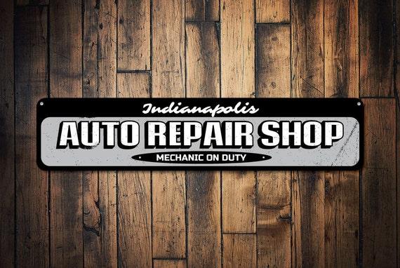 Man Cave Decor Store Kansas City : Auto repair shop sign personalized garage location city