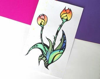 Flame tulip art original watercolour painting floral illustration tulips home decor flower wall art gift for her