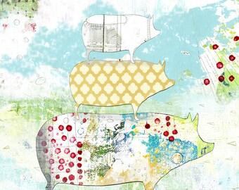 Printable Pig Art - Fun Kitchen Wall Art , Digital Download Pig Prints , Farmhouse Decor