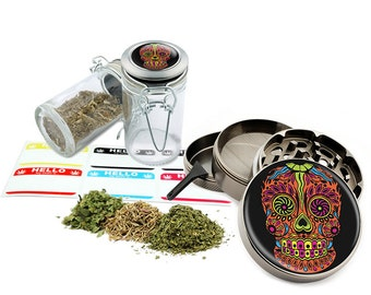 "Sugar Skull - 2.5"" Zinc Alloy Grinder & 75ml Locking Top Glass Jar Combo Gift Set Item # G021615-045"