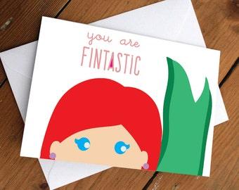 PRINCESS ARIEL CARD // mermaid, disney, cute, friendship, valentines day, anniversary, birthday