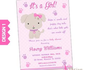 Girl puppy baby shower invitation girl baby shower diy puppy baby shower invitation girl baby shower invitation printable invitation filmwisefo