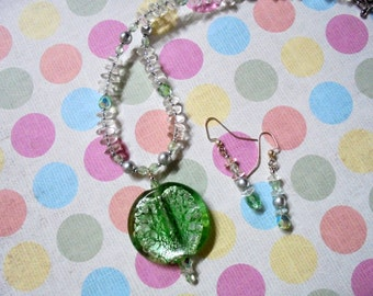 Mint Green, Silver and Crystal Necklace and Earrings (1099)
