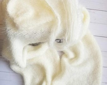 Fluffy Foux Angora Knit Newborn Photo Prop Cream Wrap and Bonnet- MADE TO ORDER