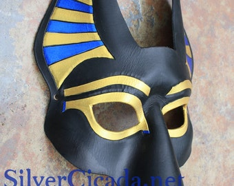 Anubis Egyptian Death God Leather Mask Made To Order Great for Mardi Gras, Masquerade, Halloween, Burningman, Cosplay