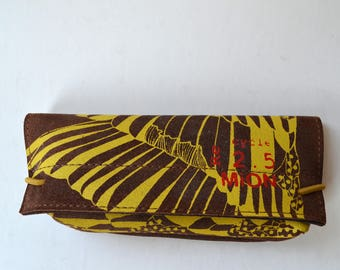 Leather glasses case (brown leather with yellow print)