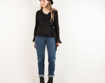VINTAGE BLACK CRINKLE Ruffle Poet Wrap Blouse / S / 90s hipster shirt romantic chiffon shirt