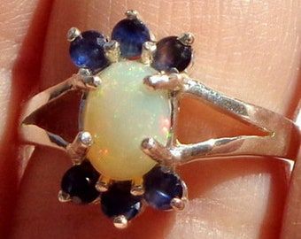 Sz 6.75, Ethiopian Welo Opal Ring, Natural Gemstone, Multi-Color Flash, Sterling Silver Ring, Blue Sapphire Accents, Fine Jewelry