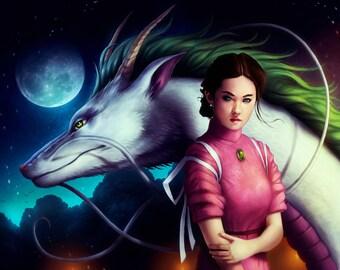 Spirited Away - Signed Art Print - Fantasy Dragon and Girl Painting by Jonas Jödicke